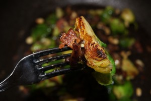 Brussels Sprouts with bacon cheddar and almonds